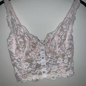 Victoria's Secret white lace crop top